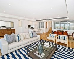 living room with sashless windows