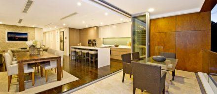 room with bi-fold aluminum doors