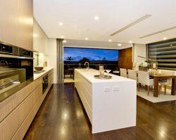 kitchen with sashless window