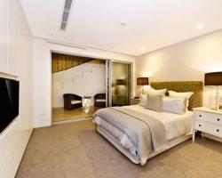 comfortable bedroom with sliding doors