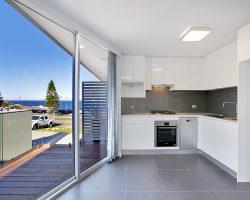 kitchen with sliding aluminum door