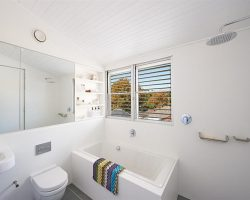 neat bathroom with two louver windows